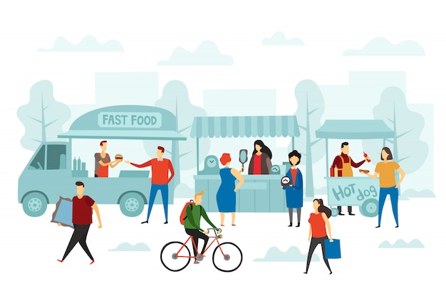 Wochenendmarkt. street shop, food truck und flohmärkte illustration
