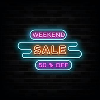 Wochenendverkauf leuchtreklame vorlage neon style