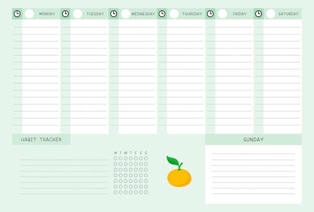Wochenfahrplan und habit tracker mit mandarinenschablone. kalenderentwurf mit zitruskarikaturillustration. leere seite des organisators für persönliche aufgaben für den planer