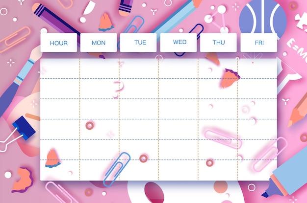 Wochenplan der schule. schulausstattung jeden tag. kinderplan, wöchentliche lehrplanvorlage, schulbeginn, schulkind, 1 2 3 klasse, rosa vektor