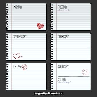 Wochenplan in blockblätter