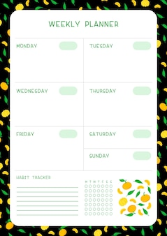 Wochenplan und habit tracker mit mandarinen und blättern flache vektorschablone. leere seite des organisators der persönlichen aufgaben für planer mit fruchtrahmen auf schwarzem hintergrund.