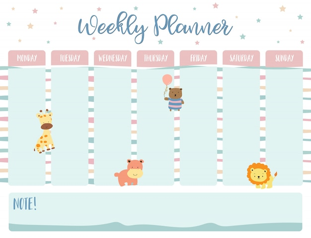 Wochenplaner für pastell