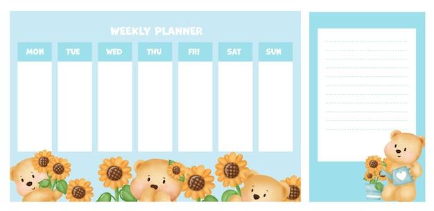 Wochenplaner mit niedlichem bären im sonnenblumenfeld.