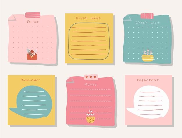 Wochenplaner mit niedlicher illustrationspastellthema-grafik für journaling, aufkleber, memo und sammelalbum.
