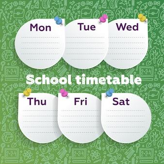 Wochenplaner mit pfiffigem design. runde blätter, die auf grüne tafel mit schulbedarf gesteckt werden, kritzeln linie kunst.