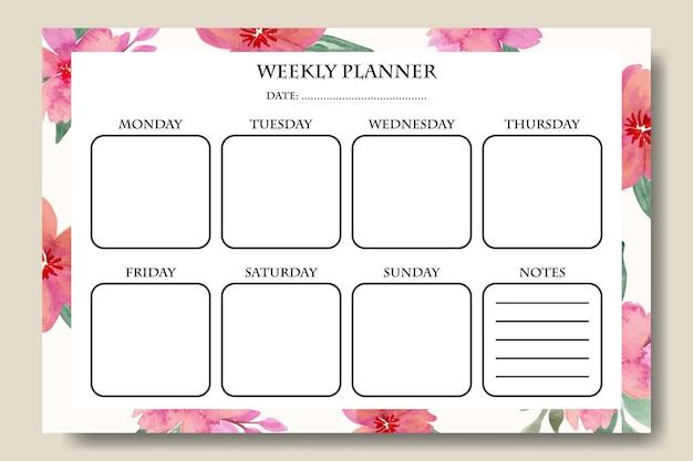 Wochenplaner-vorlage mit aquarell-blumen-rosa-blumenstrauß-hintergrund zum ausdrucken