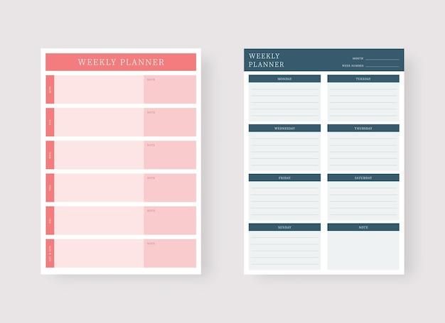 Wochenplaner-vorlage set aus planer und aufgabenliste modernes planer-vorlagenset