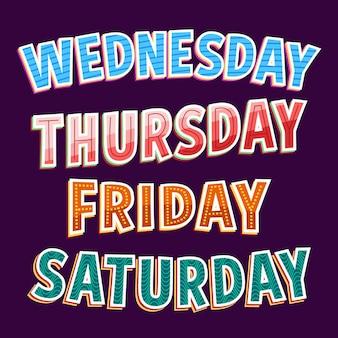 Wochentage, monate und jahreszeiten schriftzug sammlung