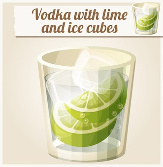Wodka mit limetten- und eiswürfeln. detailliertes vektorsymbol