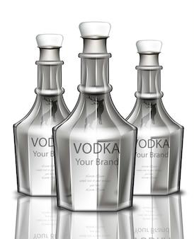 Wodka realistische flasche. produktverpackung markendesign. platz für texte