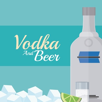 Wodkaflasche mit Schüssen und Eiswürfeln