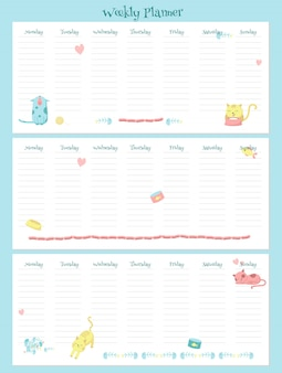 Wöchentliche planervektorschablone mit netten katzen