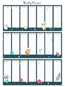 Wöchentliche planervektorschablone mit raumtieren