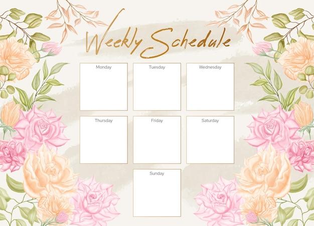 Wöchentliche zeitplanplanerschablone mit schönem aquarellblumenrahmen