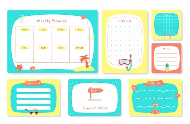 Wöchentlicher planer mit niedlicher illustrations-sommerthema-grafik für journaling, aufkleber und sammelalbum. Premium Vektoren
