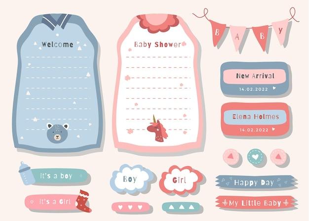 Wöchentlicher planer mit niedlicher illustrationsbabyparty-themengrafik für journaling, aufkleber und sammelalbum.