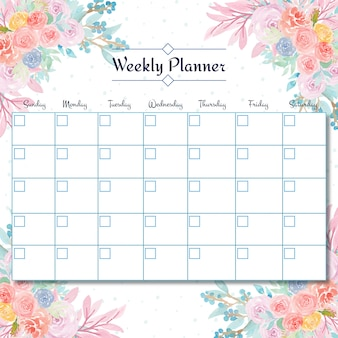 Wöchentlicher studentenplaner mit herrlichem aquarellblumenhintergrund