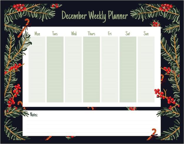Wöchentlicher tagesplaner weihnachten niedlichen themenbezogenen skandinavischen stil