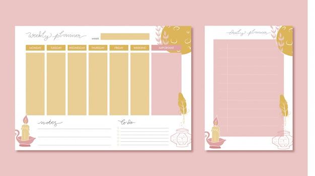 Wöchentlicher und täglicher planer mit von hand gezeichneter illustration