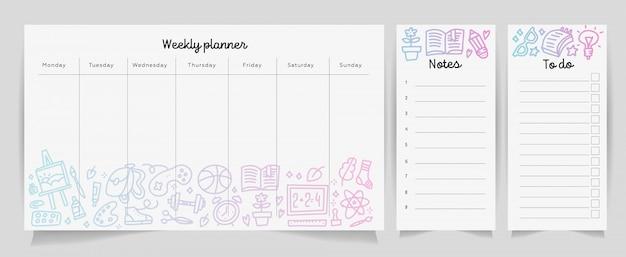 Wöchentliches planerschablonenkonzept mit schulbedarfbeschaffenheitssteigung. getrennter organisator und zeitplan mit anmerkungen und zu tun liste.