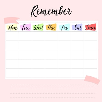 Wöchentliches und tägliches planungsdesign.