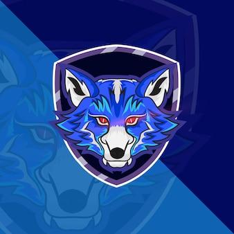 Wölfe head esport maskottchen logo für esport gaming und sport premium free vector