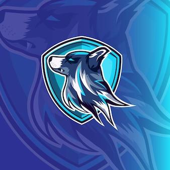 Wölfe kopf maskottchen esport logo design gaming und sport premium kostenloser vektor