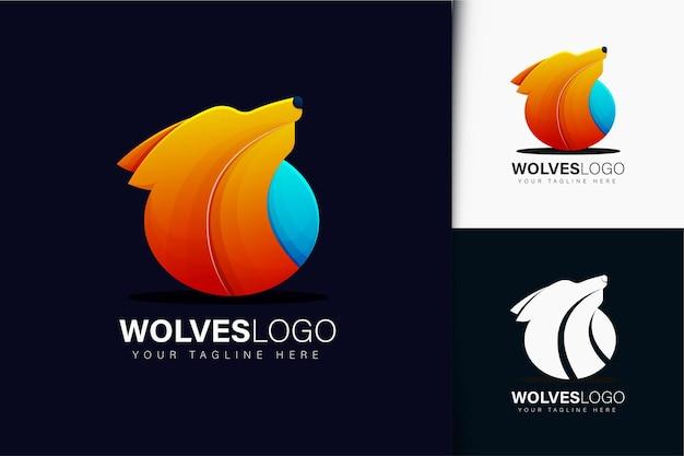 Wölfe-logo-design mit farbverlauf