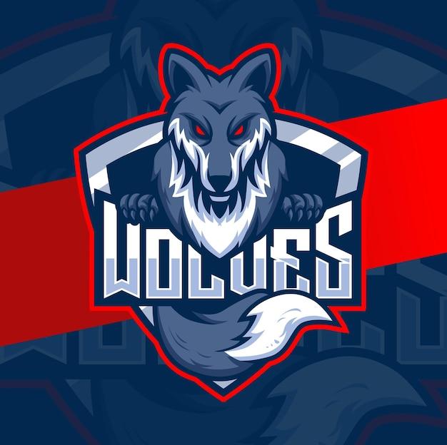 Wölfe-maskottchen-esport-logo-charakterdesign für wolfsspiele und sport