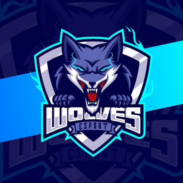 Wölfe maskottchen esport logo design