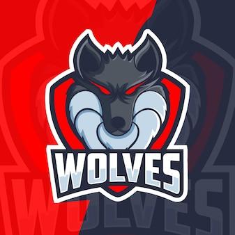 Wölfe maskottchen esport-logo