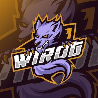 Wölfe-maskottchen-esport-logo