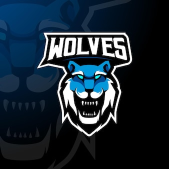 Wölfe-maskottchen-logo-design-vektor mit modernem illustrationskonzept für abzeichen-, emblem- und t-shirt-druck. wolfillustration für esport, gaming, team