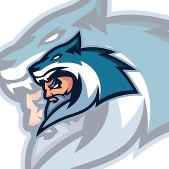 Wölfe maskottchen logo vorlagen
