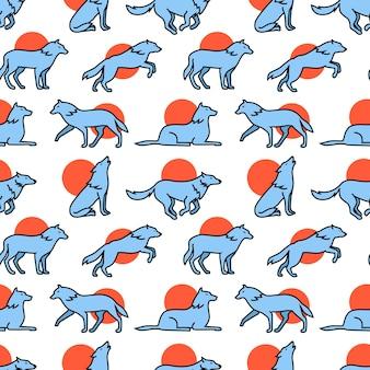 Wölfe schleppen, springen und laufen ikonen