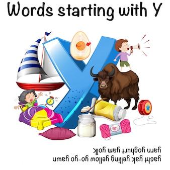 Wörter, die mit y auf weißem hintergrund anfangen