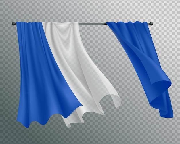 Wogende vorhangzusammensetzung mit vorhangschiene und hängendem vorhang mit spitze