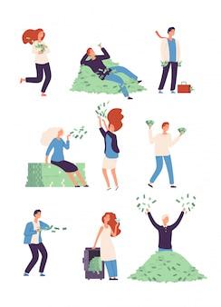 Wohlhabende glückliche menschen mit geld