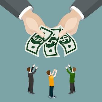 Wohltätigkeit almosen wohlfahrt wohlfahrtslohn business isometrie