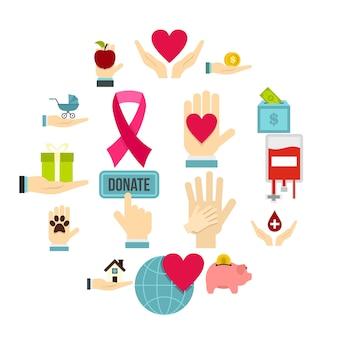 Wohltätigkeit flache ikonen