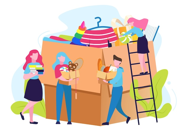 Wohltätigkeitskonzept. die menschen spenden kleidung, essen und andere dinge, um armen menschen zu helfen. spenden sie und teilen sie die liebe. idee der humanitären. illustration