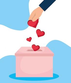 Wohltätigkeitsspendenbox mit handeinsatzherzen
