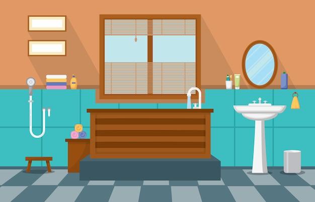 Wohn möbliertes badezimmer