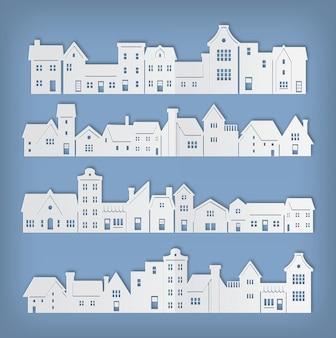 Wohngebäude in der papierkunstvektorillustration