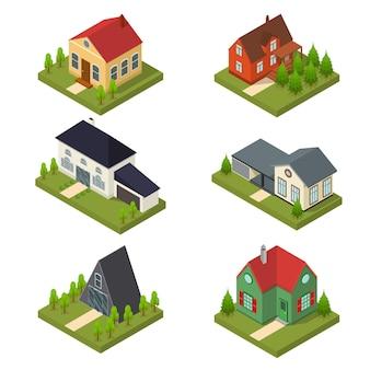Wohngebäude in isometrischer ansicht