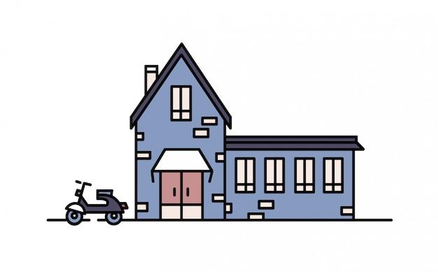 Wohnhaus aus ziegeln im modernen baustil und daneben geparkter roller. wohnstadtgebäude lokalisiert auf weißem hintergrund. farbige illustration im strichgrafikstil.