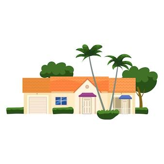Wohnhaus gebäude tropische bäume palmen haus außenfassaden vorderansicht architektur familie