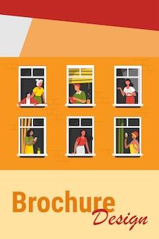 Wohnhaus mit menschen in offenen fenstern. nachbarn, die kaffee trinken, reden, zelle benutzen. vektorillustration für block der wohnung, eigentumswohnung, nachbarschaft, gemeinschaft, hausfreundschaftskonzept