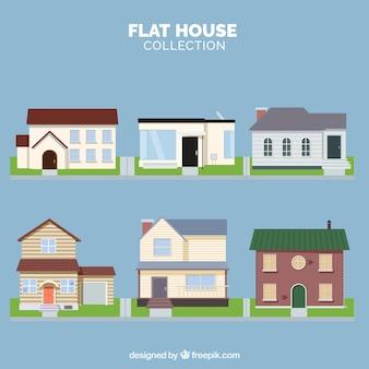 Wohnhäuser Sammlung in flachen Stil